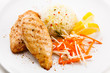 Grilled chicken fillets, rice and vegetables