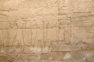 Detail of relief  in temple of Amun-Re  (Karnak, Luxor, Egypt)