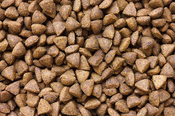 Detail of dry brown pet food. From above.