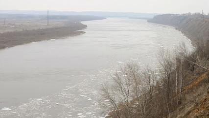 Views of the Oka river during the ice drift. Russia
