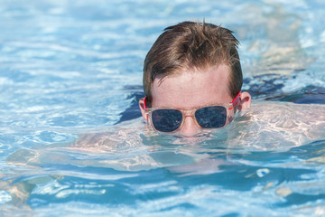 Boy Sunglasses Pool Water