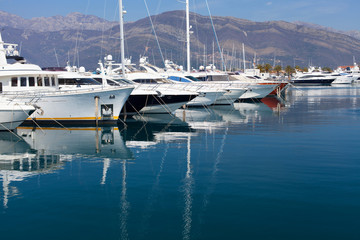 yachts in the marina Porto Montenegro