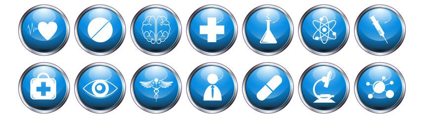 blue glossy metallic button medical icon set on white background