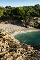 Bay Plovanije of Adriatic sea on Cape Kamenjak, Istria, Croatia.