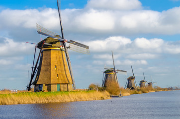 Ancient windmils near Kinderdijk, Netherlands
