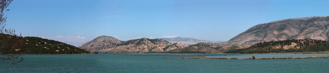 Mountains near lake in Albania. Panorama.