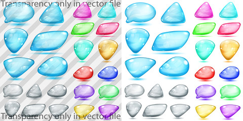 Transparent and opaque colored glass shapes