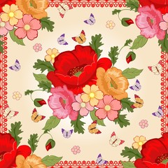 Beautiful background with colorful flowers. Floral background