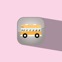 bus school button icon flat  vector illustration eps10