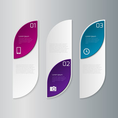 Vector illustration infographics three rectangles with rounded c