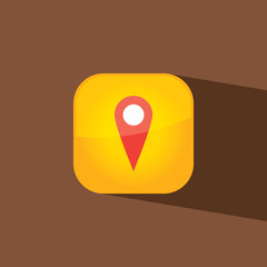 point map button icon flat  vector illustration eps10