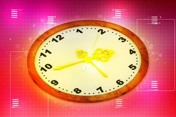 Clock in color background