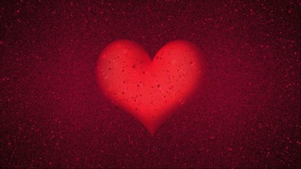 Red Heart with Rain and Water Puddles