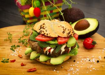 Fresh avocado burger