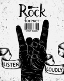 Vintage label with rock forever. Rock and Roll hand sign - 81413236