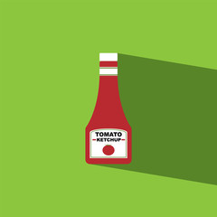 tomato sauce bottle flat icon  vector illustration eps10