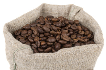 Burlap bag of coffee beans roasted coffee