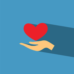 hand give heart flat icon  vector illustration eps10