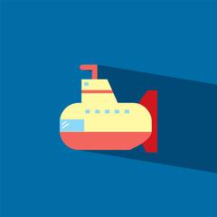Submarine flat icon  vector illustration eps10