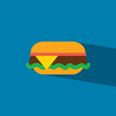 burger flat icon  vector illustration eps10