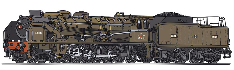 Old steam locomotive, vector illustration