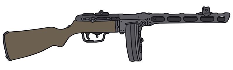 Old russian automatic gun, vector illustration
