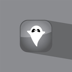 ghost button icon flat  vector illustration eps10
