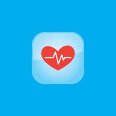 heart pulse button icon flat  vector illustration eps10