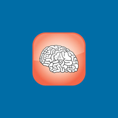 brain button icon flat  vector illustration eps10