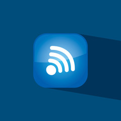wifi button icon flat  vector illustration eps10