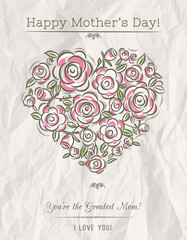 White card with heart of spring flowers for Mother's Day