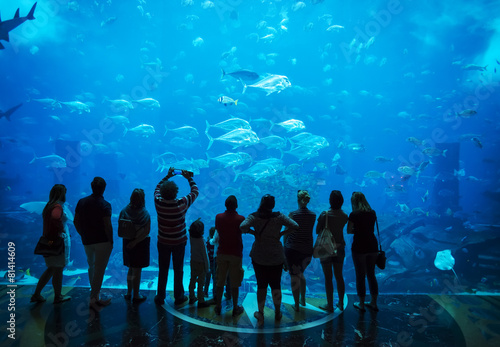 Leinwanddruck Bild Aquarium in Atlantis Hotel, with silhouettes of people