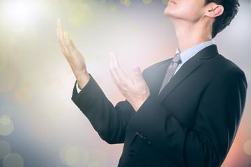 businessman pray for help