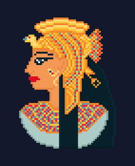 Vector pixel art illustration of woman cleopatra portrait  from
