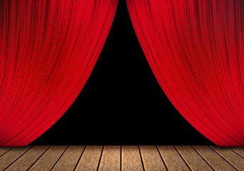 opening red curtain and wood stage background.