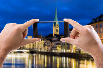 Hand holding Smartphone in Zurich, Switzerland