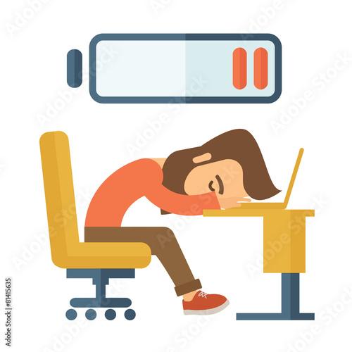 Lying tired employee. - 81415635
