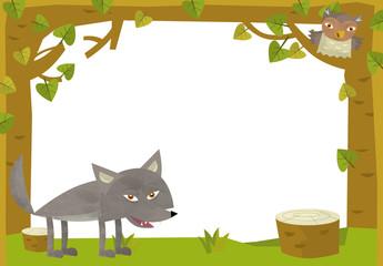 Cartoon nature frame  - horizontal - wolf - illustration