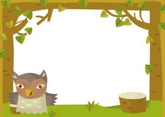 Cartoon nature frame  - horizontal - owl - illustration