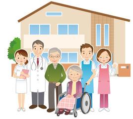 高齢者と医者と介護士 老人ホーム