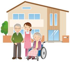 高齢者と介護士 老人ホーム