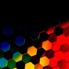 Dark Colorful Hexagonal Background. Unique Abstract Pattern.