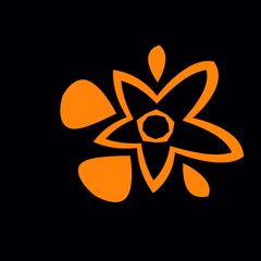Flower Juice. Abstract Orange Black Background. Fresh Splash.