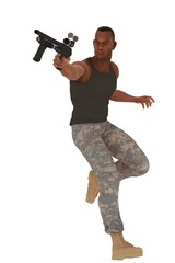 Military guy in action pose