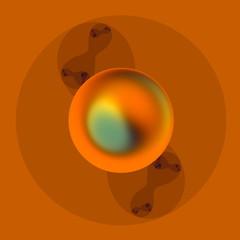 Abstract Metal Sphere. Molecule Art. Geometric Decorative Image.