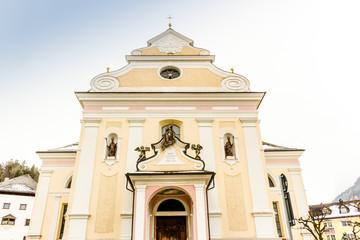 Facade of Catholic Parish Church in Dolomites