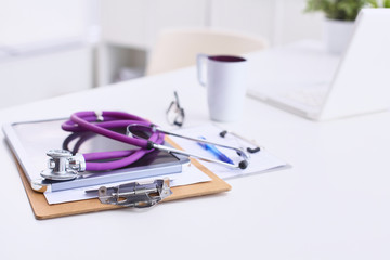 Medical document , laptop and stethoscope