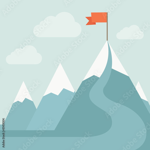 Fototapeta Mountain with red flag