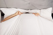 Man hiding in bed under sheets. - 81419493
