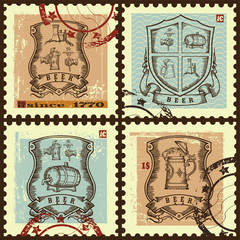Postage stamps with escutcheons.